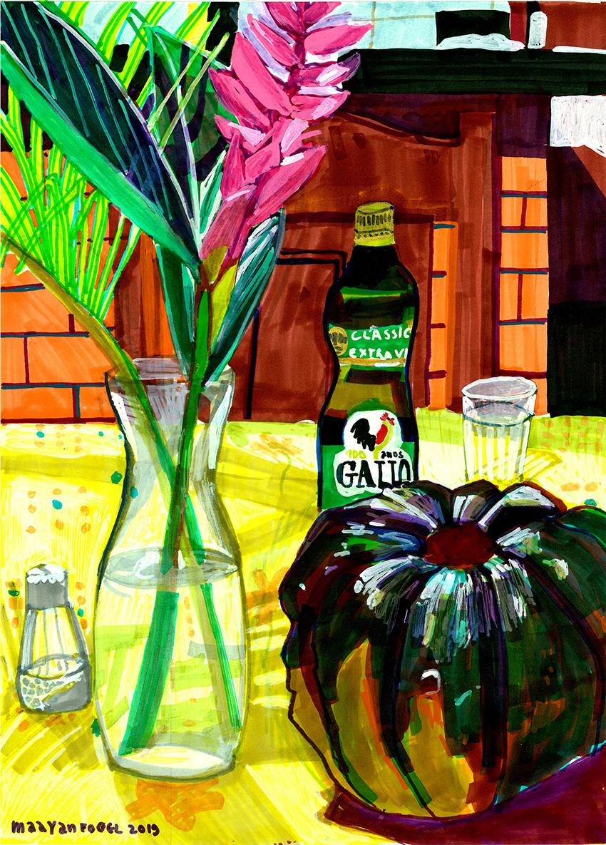 דלעת פרח ושמן זית על שולחן ארוחת הצהרים