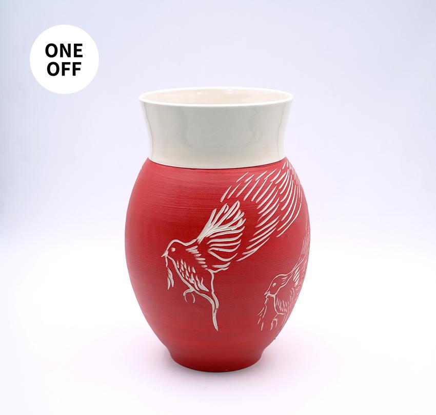 Red Bird Vase