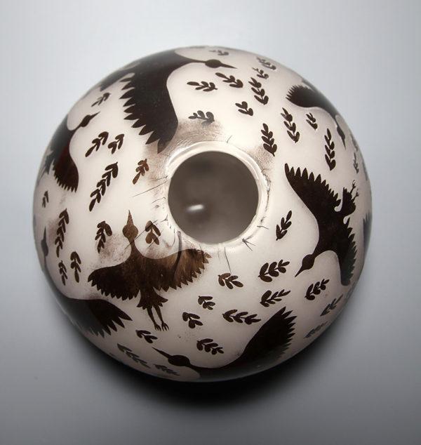 Stork Round Vase