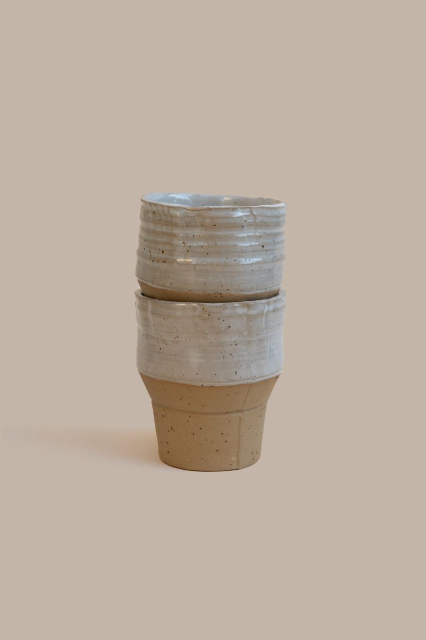 2 Stackable Industrial One-of Cups – Sand