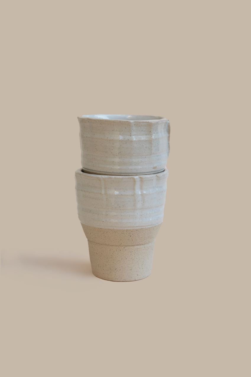 2 Stackable Industrial One-of Cups – Cream