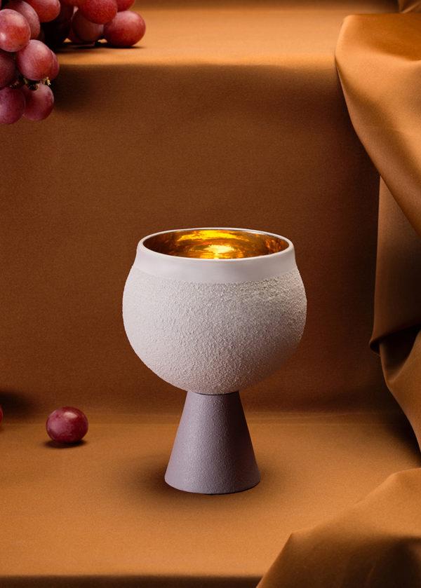כוס קידוש פורצלן – אפור לילך
